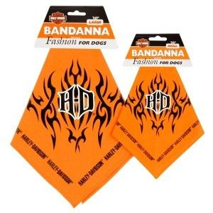 Dog Harley Davidson Logo w Flames Bandanna Scarf Fashion Pet Apparel