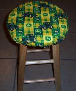 John Deere Yellow Green Plaid 12 Bar Stool Cover