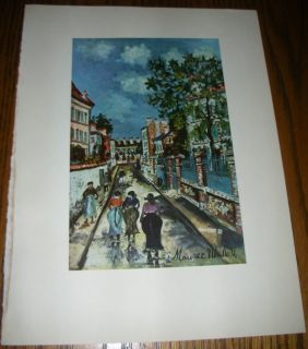 vintage Print Street Scene by Maurice Utrillo ✿