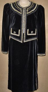 HELENE STRABER VINTAGE 80s LADIES 2pc BLACK VELVET Skirt SUIT size