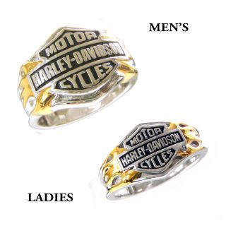 Harley Davidson Silver Mens Ladies Classic Logo Ring Set New