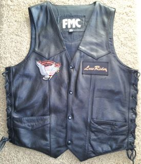 Mens Black Leather FMC Vest w Harley Davidson Patches Lace Up Sides Sz