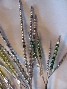 37 Vintage Mercury Glass Bead Garland Christmas Spray Pick Gold Silver