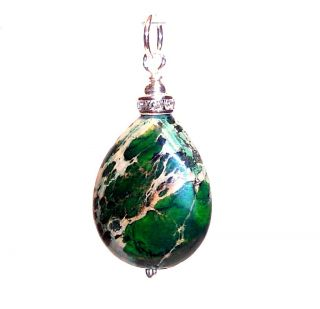 Green Sea Sediment Jasper 925 Sterling Silver Pendant Charm