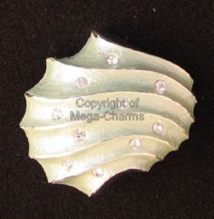 Gold Plated Nautical Green Sea Shell Brooch AB776