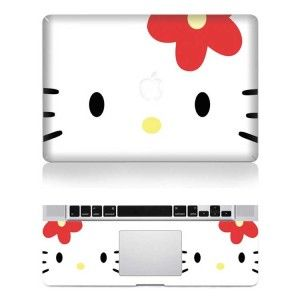 white hello kitty macbook decal skin sticker pro air laptop protect 11