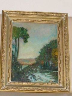 ANTIQUE IMPRESSIONIST LANDSCAPE OIL PAINTING VINTAGE SIGNED OLD