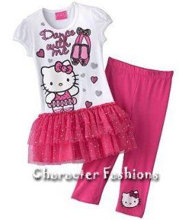 Hello Kitty Shirt Pants Set Size 4 5 6 6X Tutu Tunic Capri Leggings