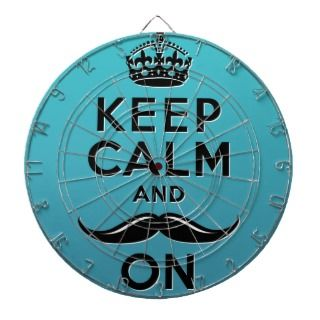 Funny teal blue Keep Calm and Mustache On Dart Boards