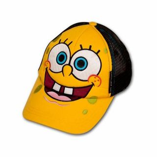 SPONGEBOB FACE TRUCKER BALL CAP / HAT 3D Embroidered   One Size