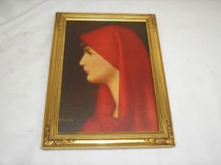 Painting FABIOLA Artist Signed Henner Framed Reproduction