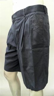 Greg Norman Golf Mens 34 Pleated Casual Shorts Navy Solid Designer
