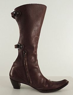 Henry Beguelin Brown Cowboy Western Knee High Boots Open Buckle Back