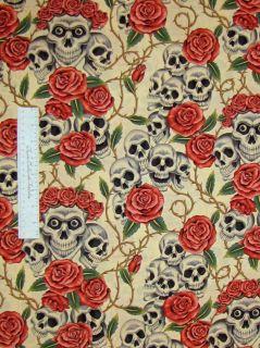 Fabric Skulls Bouquet Beige Folklorico   Alexander Henry Cotton YARD
