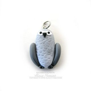 Unique Cute African Grey Parrot Bird Mini Charm Pendant Jewelry Clay
