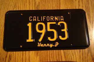 1953 Henry J California License Plate 1953 Henry J