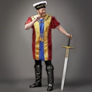 King Henry VIII Medieval Costume Mens Plus 52 56 Tunic Hat New