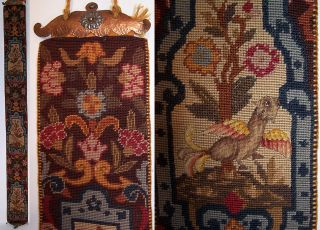 & Crafts Needlepoint Petit Point Griffin Bell Pull Copper Hardware