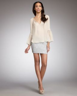 Haute Hippie Lace Detail Peasant Top & Embellished Miniskirt   Neiman