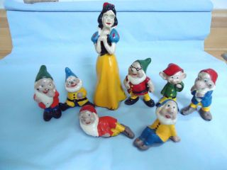 Vintage Lead Cast Iron Disney Snow White Seven Dwarfs