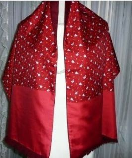 Authentic Hermes Silk and Angora Duck Dynasty Scarf Shawl Red My
