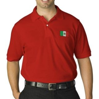 Mexico flag embroidered mens polo shir