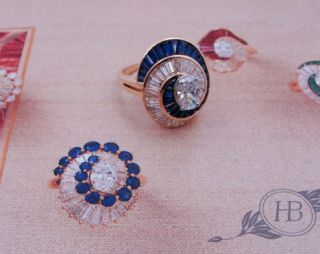 Ladies Designer Oscar Heyman 18K Yellow Gold Diamond Sapphire Ring