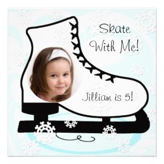 Custom Photo Ice Skating Birthday Invitations