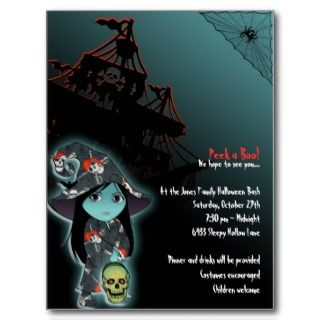 Lil Witch in Pirate Skull Robe Halloween Invite Postcard