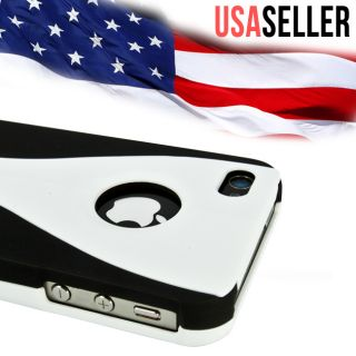Black White 3 Piece Hard Case Cover Apple iPhone 4S at T Verizon
