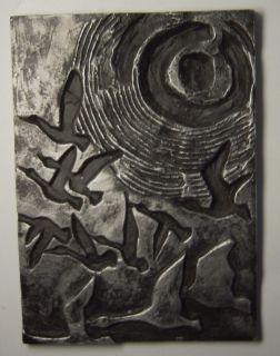 Abstract Cast Aluminium Relief Plaque Geese Signed Germann Kunstguss