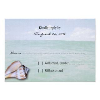 Island Whelk Tropical Wedding Reply Cards Announcement