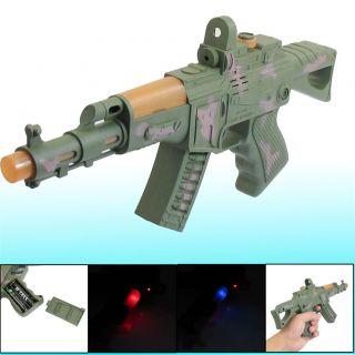 Army Green Hard Plastic Red Blue Light Sound Rifle Shot Hand Gun Kids