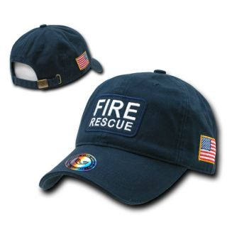 Blue Fire Rescue Baseball Cap Caps Hat Hats US Flag