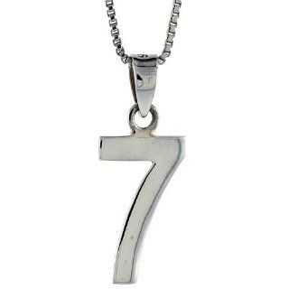 Sterling Silver Digit Number 7 Pendant 3/4 inch (18 mm) Jewelry