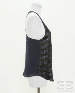 Haute Hippie Navy Black Silk Striped Sequin Sleeveless Top Size Medium