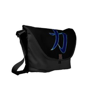 Strength Japanese Kanji Symbol Courier Bag