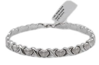 Diamond Cut Hearts Kisses Stampato Bracelet 14k White Gold 5 6gr