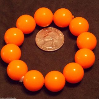 Fluorescent Orange Large Chunky Bead Stretch Bracelet