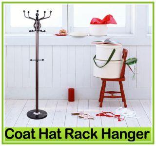 New 7014 Hook Metal Coat Rack Hat Stand w/Marble Base & Umbrella
