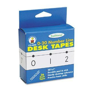 Traditional 0   20 Number Line Desk Tapes; 36 per Pack; no