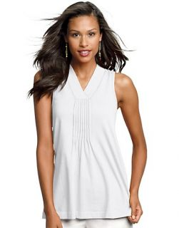 Hanes Signature Womens Ultimate Stretch Cotton Pin Tuck Tank Top 23920