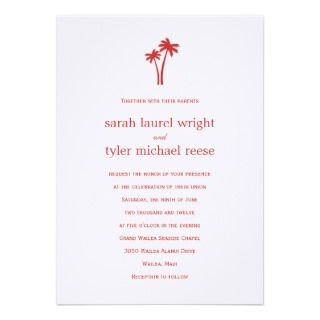 Palm Trees Wedding Invitation   White/Red