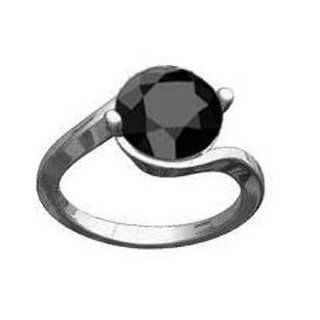 3.50 Ct Fancy Black Round Solitaire Diamond Ring 925