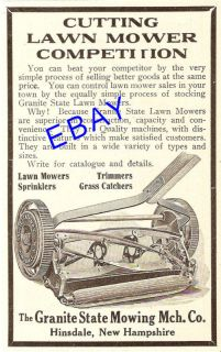 1912 Granite State Push Lawn Mower Ad Hinsdale NH New Hampshire