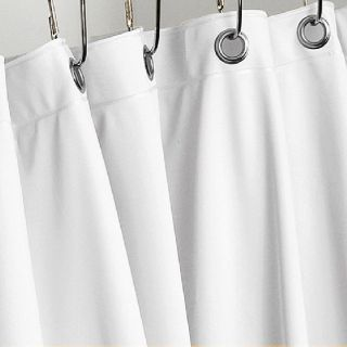 BRIGHT WHITE HEAVY VINYL SHOWER CURTAIN HOTEL WEIGHT METAL GROMMETS