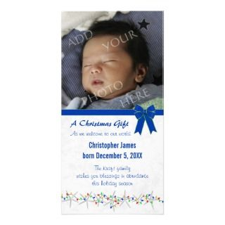 Starfish and Lights Baby Boy Birth Announcement Photo Card