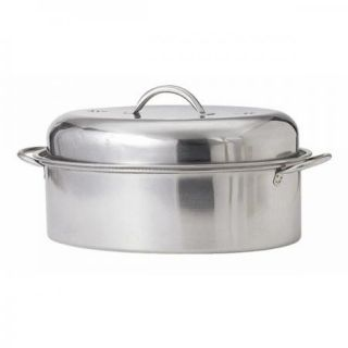 Stainless Steel High Dome Oval Roasting Pan with Adjustable Vents
