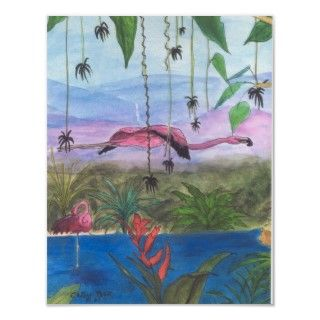 Flying Pink Flamingo Bayou Tropical Bird Print Art