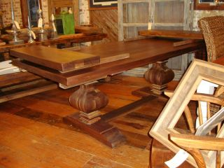 Reclaimed Wood Solid Walnut Double Pedestal Extension Table 2 1 4 Top